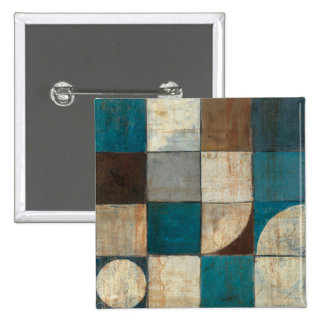 Abstract in Blue and Brown 15 Cm Square Badge