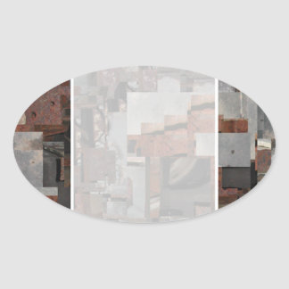 Abstract in Brown and Gray. Oval Sticker