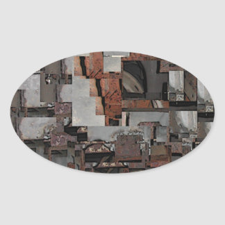 Abstract in Brown and Gray. Pattern. Oval Stickers