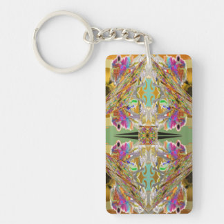 Abstract in Jewel Colors with Your Words Key Ring