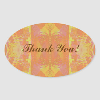 Abstract in Orange and Yellow - Thank You@ Oval Sticker