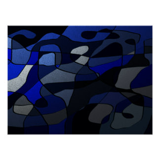 Abstract in Shades of Blue Poster