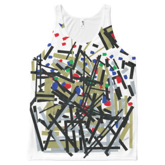 Abstract in Tape & Letterforms 1 All-Over Print Singlet