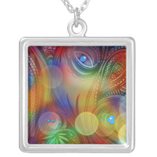 """""""ABSTRACT IN VIVID COLORS LARGE NECKLACE"""" SILVER PLATED NECKLACE"""