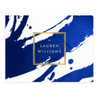 Abstract Indigo Blue Brushstrokes Postcard