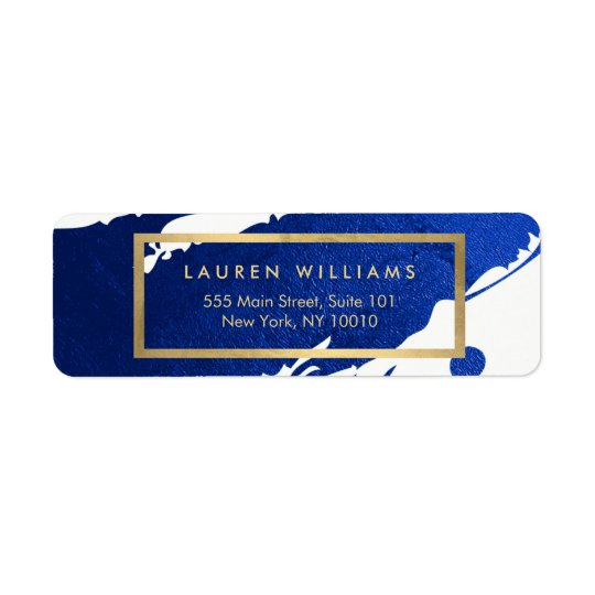 Abstract Indigo Blue Brushstrokes Return Address Label