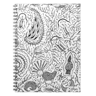 Abstract Indonesian Textile with Birds Notebook