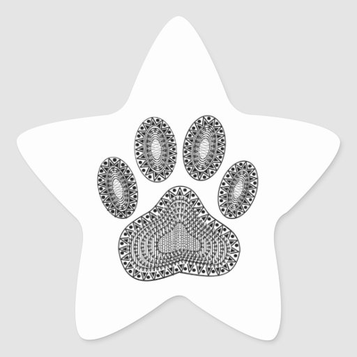 Abstract Ink Paw Print Star Stickers