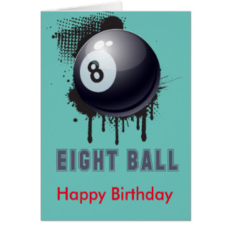 Abstract Ink Splotch with BILLIARD ball and TEXT Card