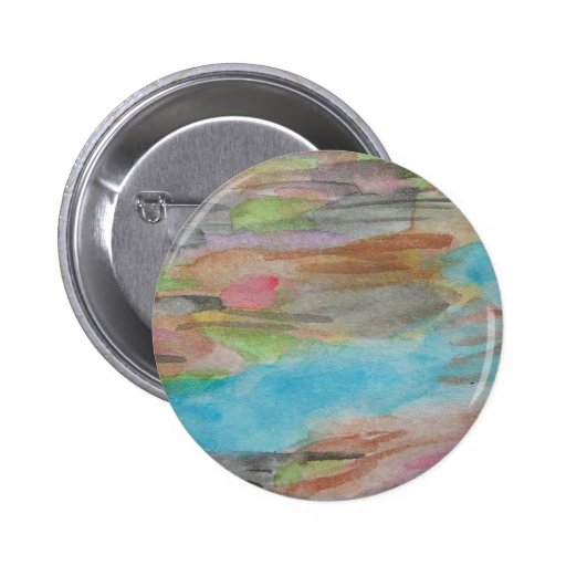 Abstract Japanese River Watercolor Button/Pin