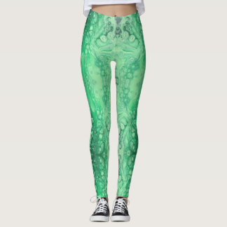 Abstract jewel green malachite leggings