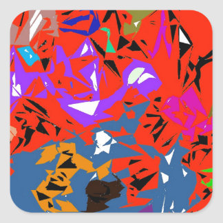 Abstract Jungle Red Square Sticker