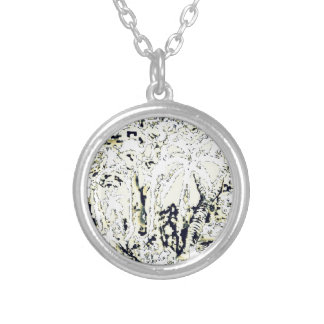 abstract jungle silver plated necklace