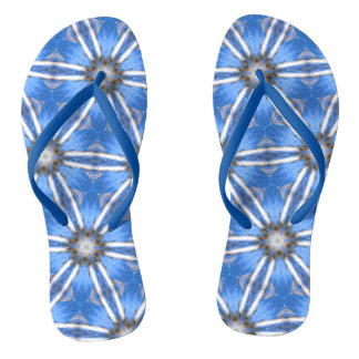 Abstract Kaleidoscope Blue and White Design Thongs