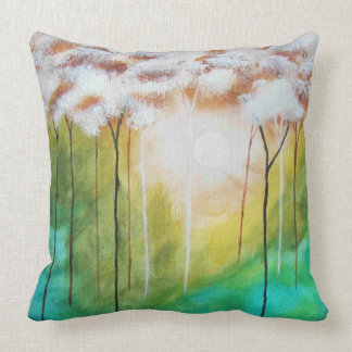 Abstract Landscape Art Dawn Sunrise Skinny Trees Cushion
