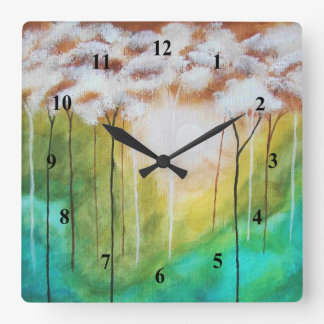 Abstract Landscape Art Dawn Sunrise Skinny Trees Square Wall Clock