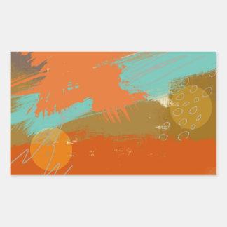 Abstract Landscape Art Paint Circles Spheres Rectangular Sticker