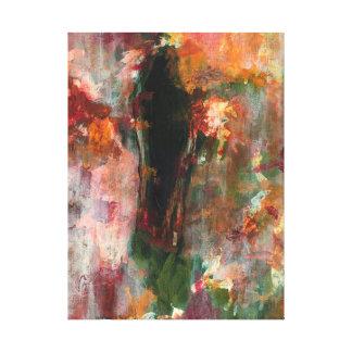 Abstract Landscape Art Painting Green Orange Black Canvas Print