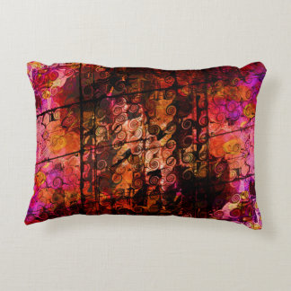 Abstract Landscape Art Swirls Lines Purple Red Decorative Cushion