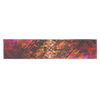 Abstract Landscape Art Swirls Lines Purple Red Short Table Runner