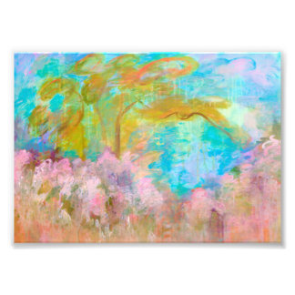 Abstract Landscape Art Tree Pink Aqua Flowers Photographic Print