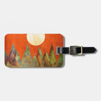 Abstract Landscape Big Moon, Mountains, Orange Sky Luggage Tag