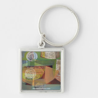 Abstract Landscape Buenos Aires 21.75x14.5 Silver-Colored Square Key Ring