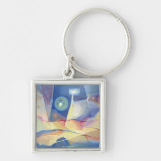 Abstract Landscape Buenos Aires 24.25x17 Silver-Colored Square Key Ring