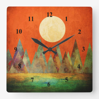 Abstract Landscape Full Moon Mountains Orange Sky Clocks