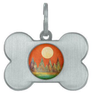 Abstract Landscape Full Moon Mountains Orange Sky Pet Name Tag