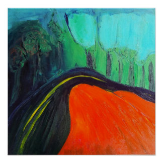 abstract landscape of a canyon road poster