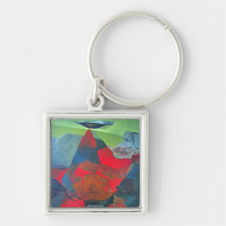 Abstract Landscape of Potosi Bolivia 21.9 x 27.6 Silver-Colored Square Key Ring