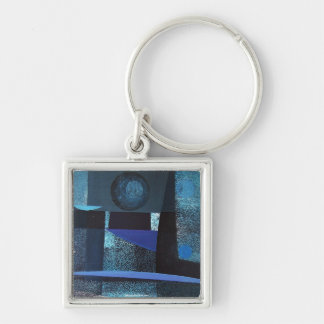 Abstract Landscape of Potosi Bolivia 21x26.9 Silver-Colored Square Key Ring