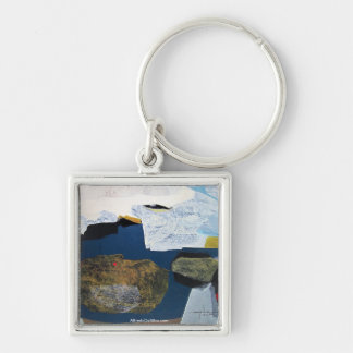 Abstract Landscape of Potosi Bolivia 22.6x33.9 Silver-Colored Square Key Ring