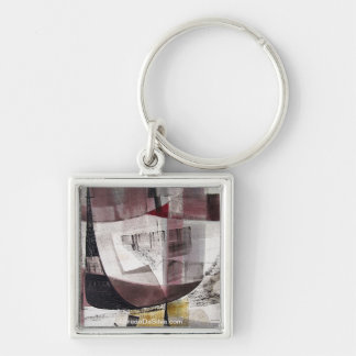 "Abstract Landscape of Potosi Bolivia 22""x22"" Silver-Colored Square Key Ring"