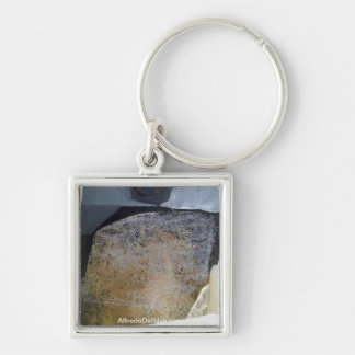 Abstract Landscape of Potosi Bolivia 25.3x19.6 Silver-Colored Square Key Ring