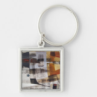 Abstract Landscape of Potosi Bolivia 27.3x19.9 Silver-Colored Square Key Ring