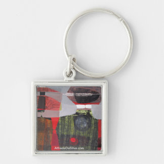 Abstract Landscape of Potosi Bolivia 28.9x19.6 Silver-Colored Square Key Ring