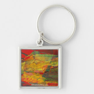 Abstract Landscape of Potosi Bolivia 29x18 Silver-Colored Square Key Ring