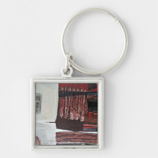 Abstract Landscape of Potosi Bolivia 30.3x22.3 Silver-Colored Square Key Ring