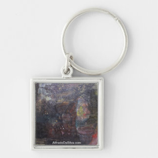 Abstract Landscape of Potosi Bolivia 30.3x23.6 Silver-Colored Square Key Ring