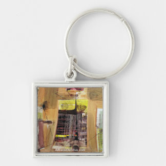 Abstract Landscape of Potosi Bolivia  30.6x21.3 Silver-Colored Square Key Ring