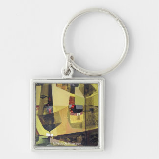 Abstract Landscape of Potosi Bolivia 30x22.6 Silver-Colored Square Key Ring