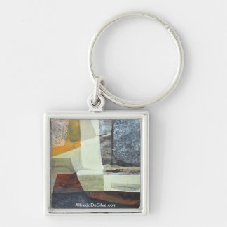 Abstract Landscape of Potosi Bolivia 30x22 Silver-Colored Square Key Ring