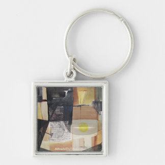 Abstract Landscape of Potosi Bolivia 31.3x21.6 Silver-Colored Square Key Ring