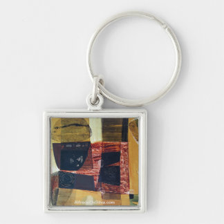 Abstract Landscape of Potosi Bolivia 31.6x21.6 Silver-Colored Square Key Ring