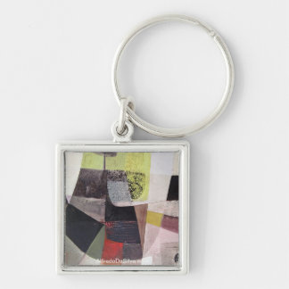 Abstract Landscape of Potosi Bolivia 32.3x21.6 Silver-Colored Square Key Ring
