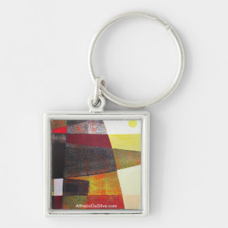 Abstract Landscape of Potosi Bolivia 33x22.6 Silver-Colored Square Key Ring