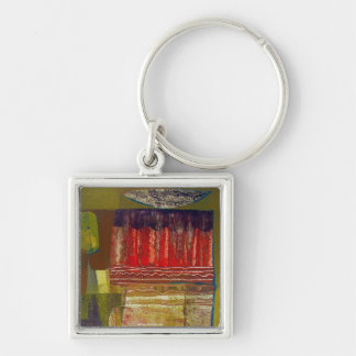 Abstract Landscape Potosi 16.6x22.75 Silver-Colored Square Key Ring