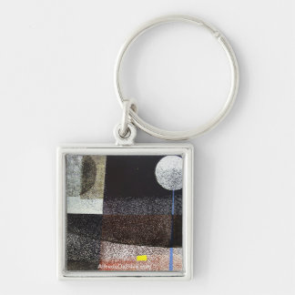 Abstract Landscape Potosi 21.75x16.5 Silver-Colored Square Key Ring
